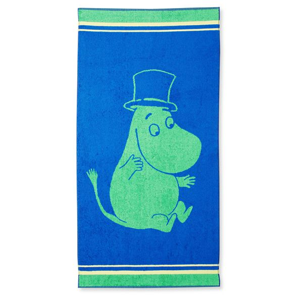 Take Moominpappa with you on your adventure and make your bath moment unforgettable. Make them exciting with this blue and green towel. The Moomin-towels are inspired by Tove Jansson's original drawings and are authentic ©Moomin Characters™ licensed products.