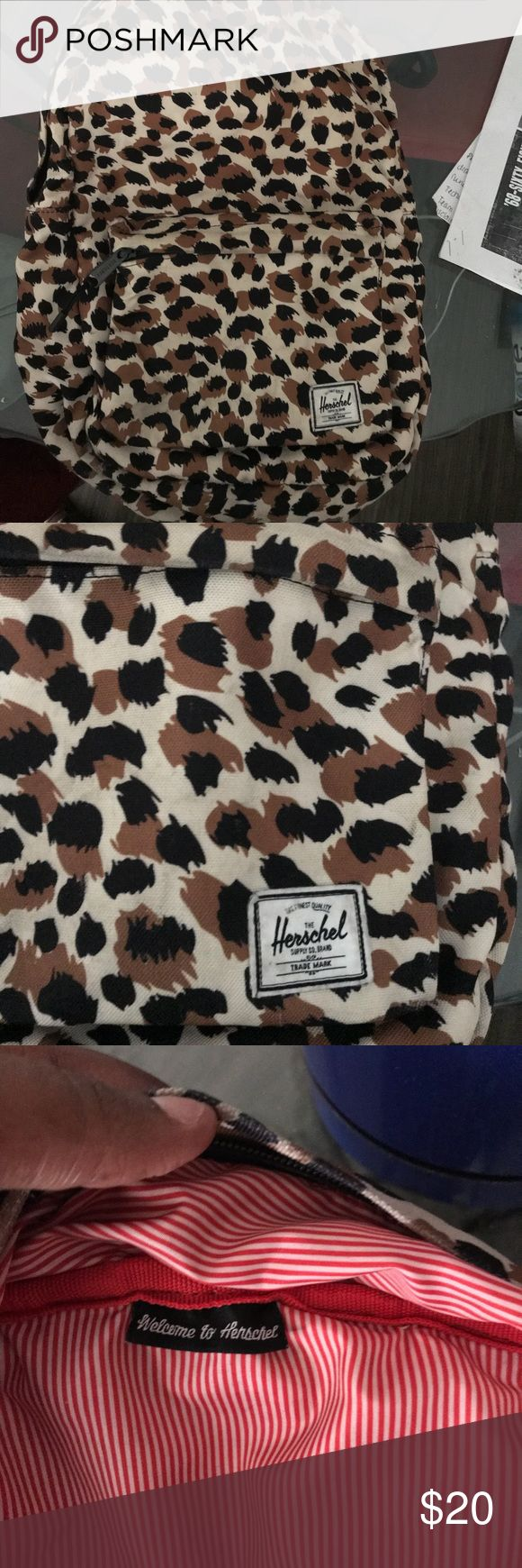 Adorable cheetah print Herschel bookbag Cute great condition Herschel book bag perfect and trendy for school.  Very comfortable straps on shoulders. Herschel Supply Company Bags Backpacks
