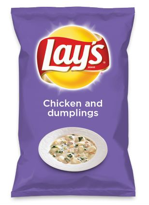 Wouldn't Chicken and dumplings be yummy as a chip? Lay's Do Us A Flavor is back, and the search is on for the yummiest chip idea. Create one using your favorite flavors from around the country and you could win $1 million! https://www.dousaflavor.com See Rules.
