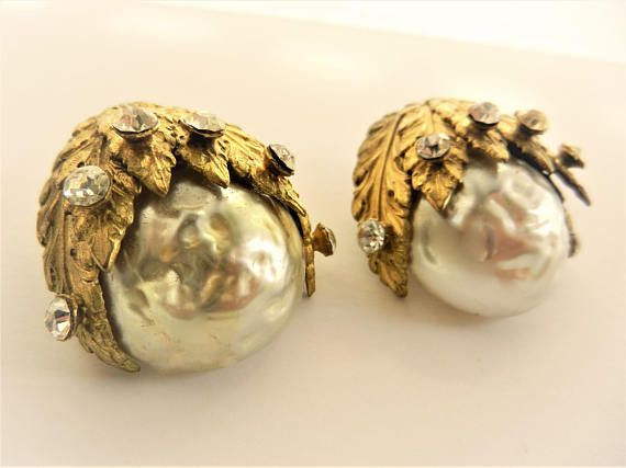 Great Baroque Glass Pearl Earrings  Baroque Mabe Pearl Bride