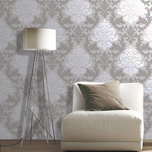 Papier peint papier Medaillon gris