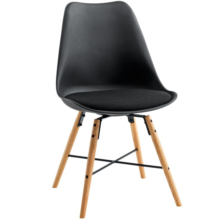 black dining chair with oak legs