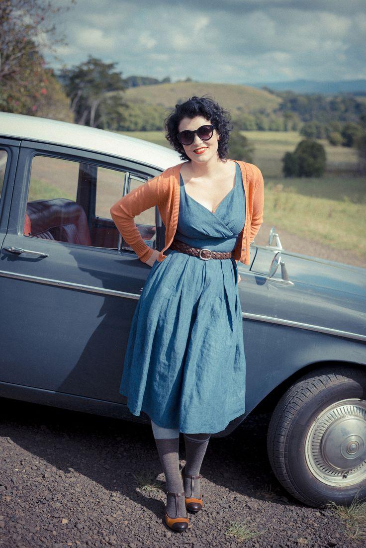 Alice dress in Indigo with Verity cardigan in Pumpkin. LAZYBONES.COM.AU