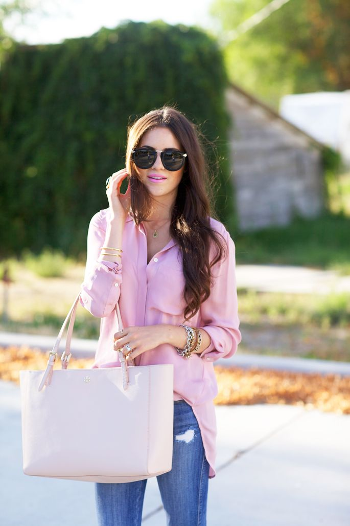 Pink blouse, Tory York tote...