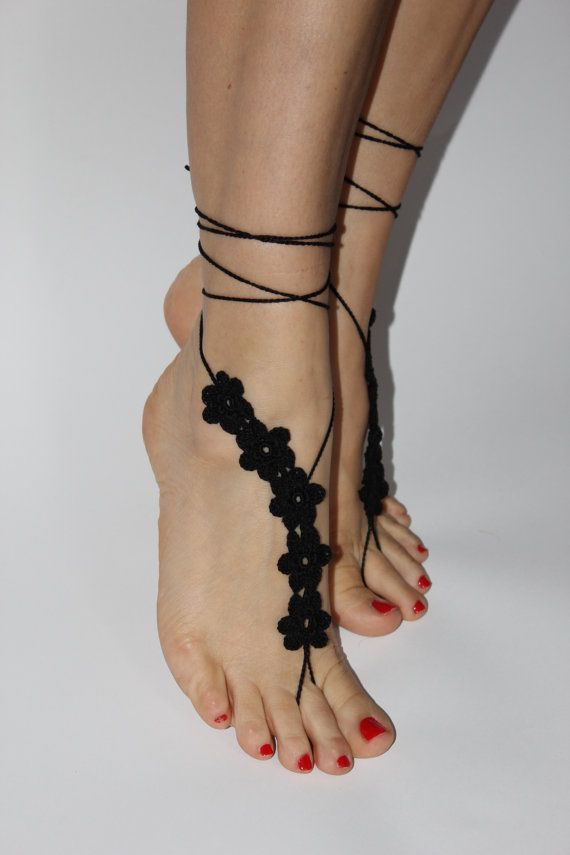 Crochet Barefoot Sandals Foot jewelry Bridal Sexy by craftbyaga, $15.00