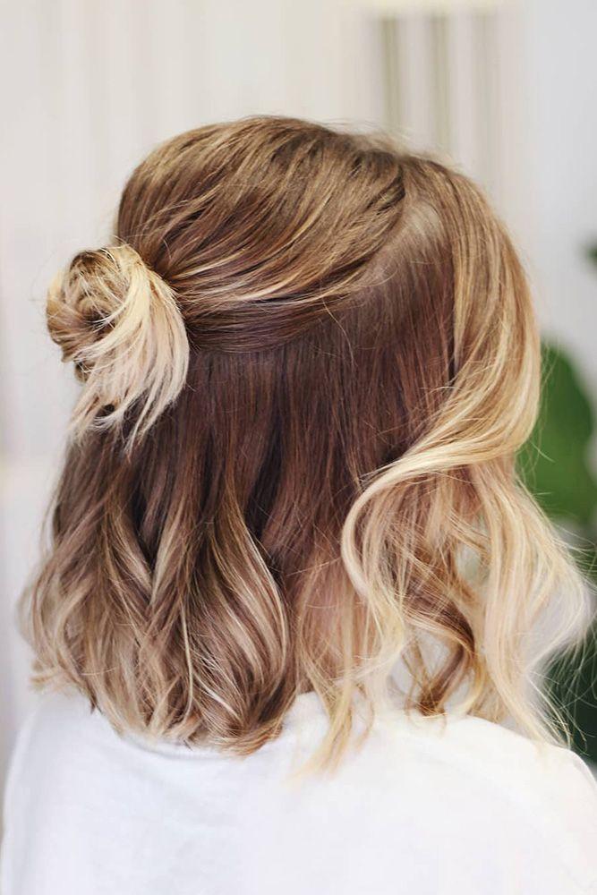 45 Perfect Half Up Half Down Wedding Hairstyles Wedding Forward Short Hair Updo Short Hair Styles Thick Hair Styles