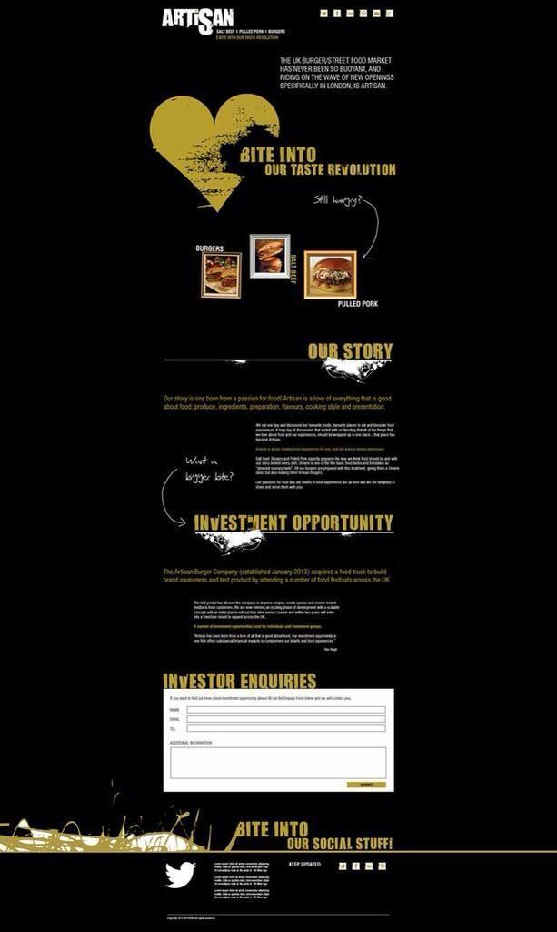 Our parallax web design for Artisan. We loved the outcome of the bespoke font and positioning.