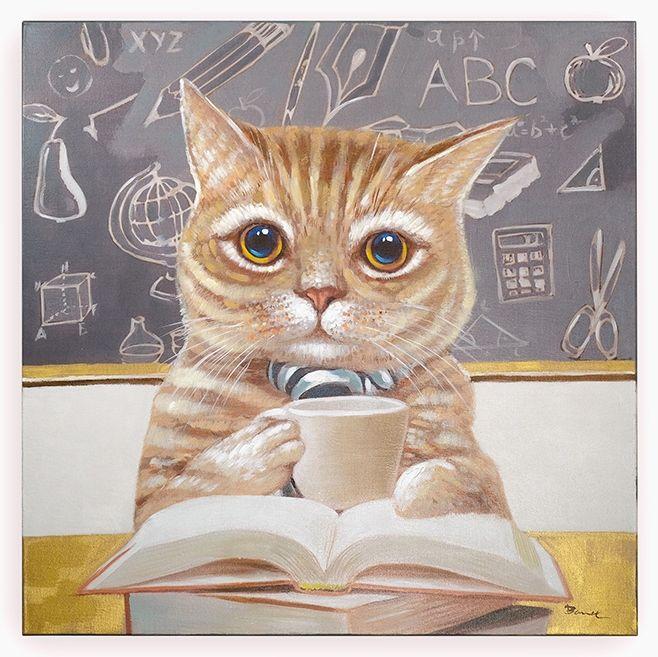 Quadro Gato Livro 90 x 90 cm | A Loja do Gato Preto | #alojadogatopreto | #shoponline | referência 58868797