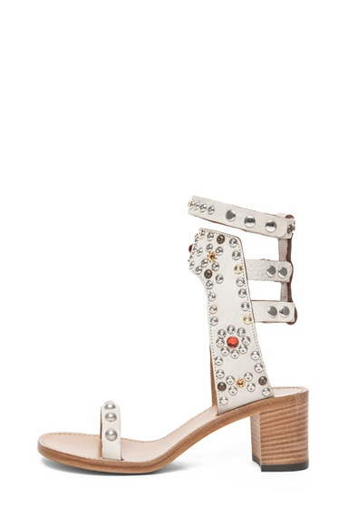 Caroll Strassed and Studded Sandal in Craie by Isabel Marant