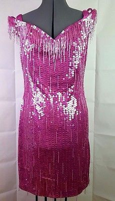 Vintage Nadine Pink SEQUIN Fringe Beaded Party Dress Size L Large Prom Fancy
