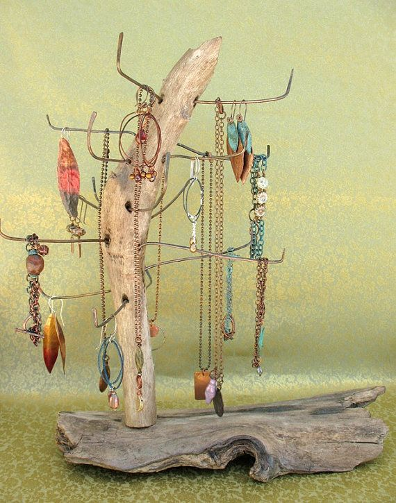 Salvaged Driftwood and Recycled Copper Jewelry by missficklemedia--Love the stand idea