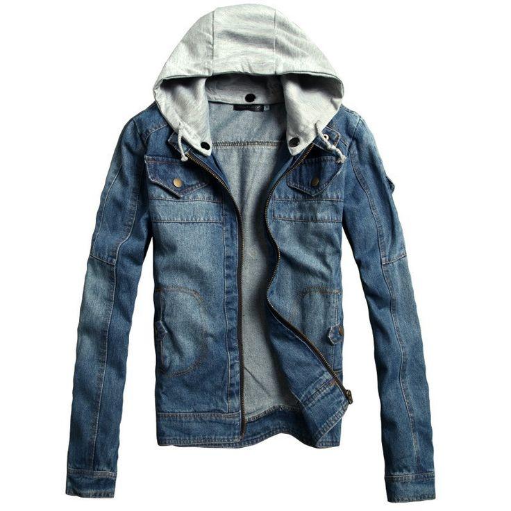 New Winter Men's Denim Jeans Jacket Hooded Male Outwear Korean Version Slim Fit Denim Jacket Coat Plus Size M-3XL