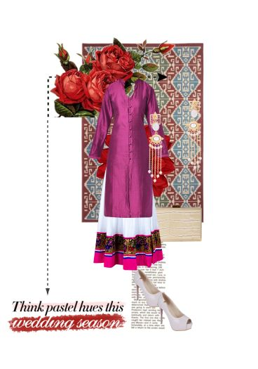 'Wedding season' by me on Limeroad featuring Purple Kurtas, White Skirts with Beige Clutches