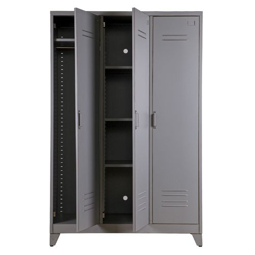Nice Armoire penderie type casier en m tal portes tag res Max