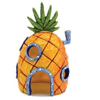 Penn Plax SpongeBob Squarepants Pineapple House with Swim Holes Aquatic Ornament- Definitely need this if I have the Krusty Krab.
