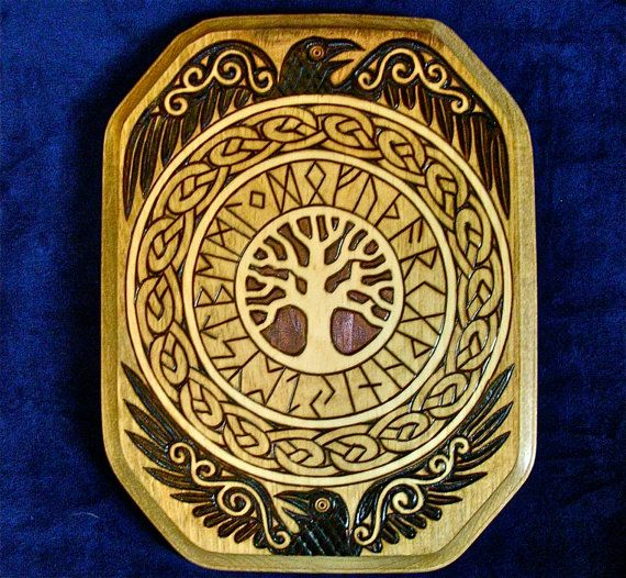 RESERVED. Runes, Ravens and Yggdrasil Wood Plaque with Viking knotwork