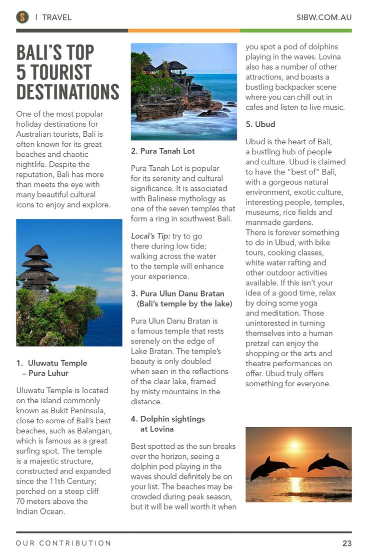 Bali's Top 5 Tourist Destinations. SIBW Issue#1.