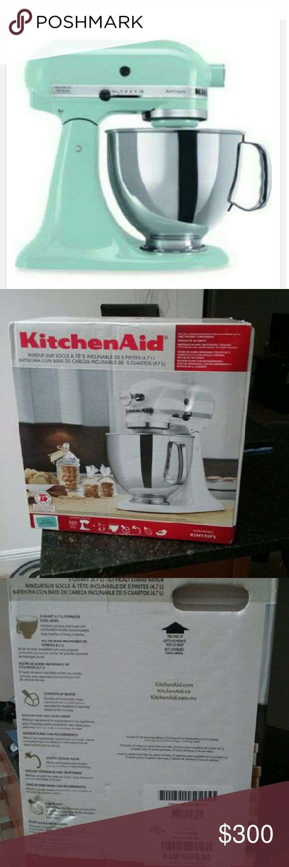 Kitchenaid Artisan 5 Qt. Stand Mixer Model:KSM150PS New in the box.  Kitchenaid Artisan 5 Qt. Stand Mixer In Aqua This attractively styled KitchenAid Stand Mixer is reason enough for you to get busy in the kitchen. With a powerful 325 watt motor, it can handle any task you put to it. Other