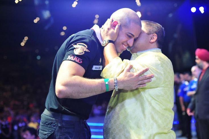 Dato Vijay Eswaran whispers to Khaled Obbeya, first Diamond Star.
