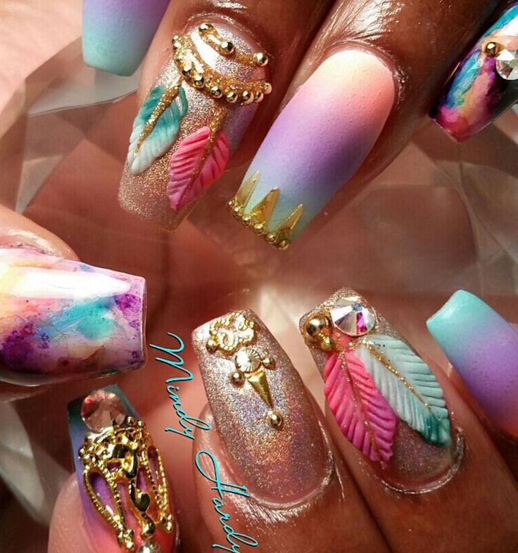 Best 25 bling nail art ideas on pinterest bling nails nail absolutely love these tie dye nail designs w pink purple turquoise gold colors prinsesfo Gallery