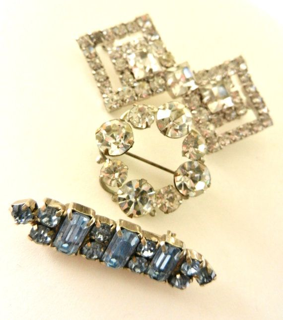 Tris of crystal brooches 1950/1960  Kramer signed by RAKcreations