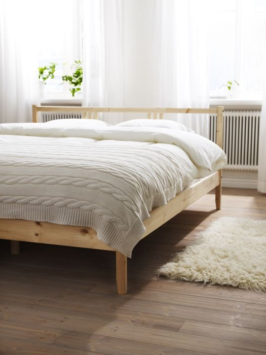The FJELLSE bed - solid pine with a light and airy design.  Enjoy its natural beauty, or you can paint or stain it to suit your style.