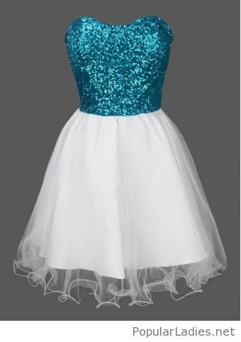 Blue glitter top and white tulle