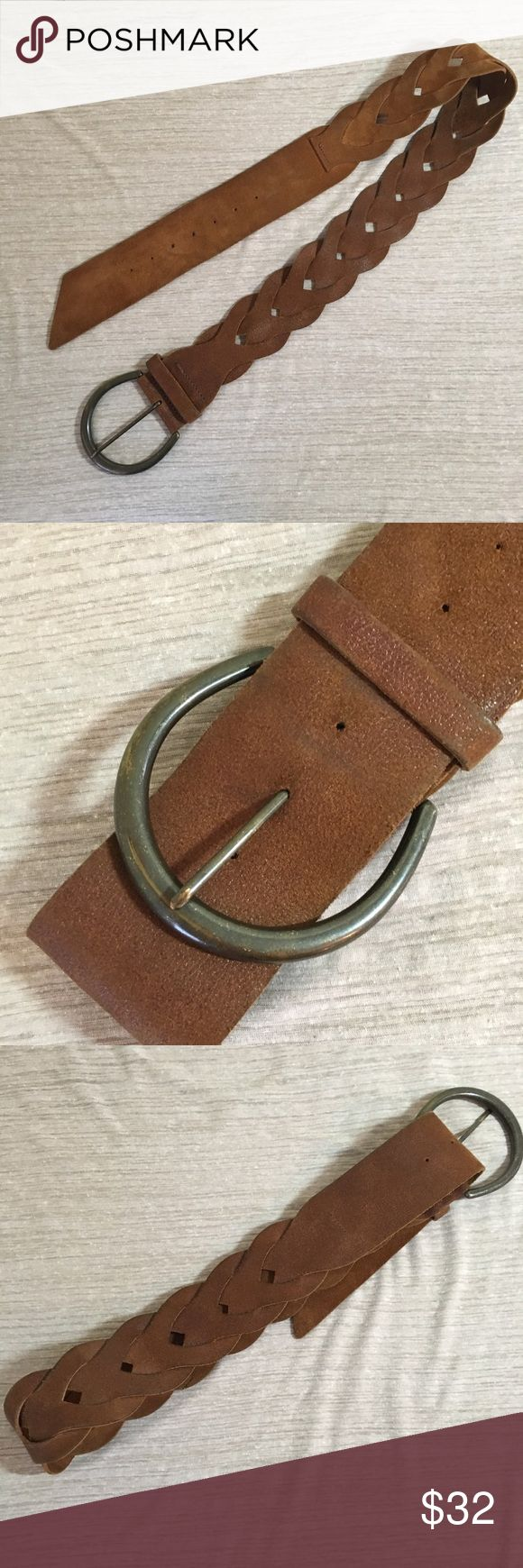 "Soft Boho Brown Leather Woven Belt 2 1/2"" Wide Very soft woven brown leather belt, large metal buckle.  Brand markings are worn - Genuine Leather Size 12-14  Measurements: From start of belt buckle to end of belt: 45"" Leather Length: 41 1/2"" Width: 2 1/2"" Belt Buckle: 3 1/2"" x 4"" Accessories Belts"