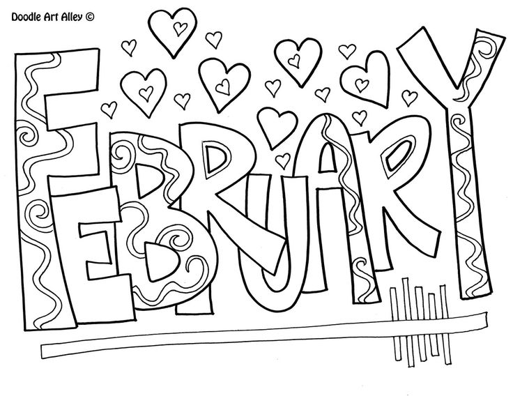 months of the year doodle art coloring pages