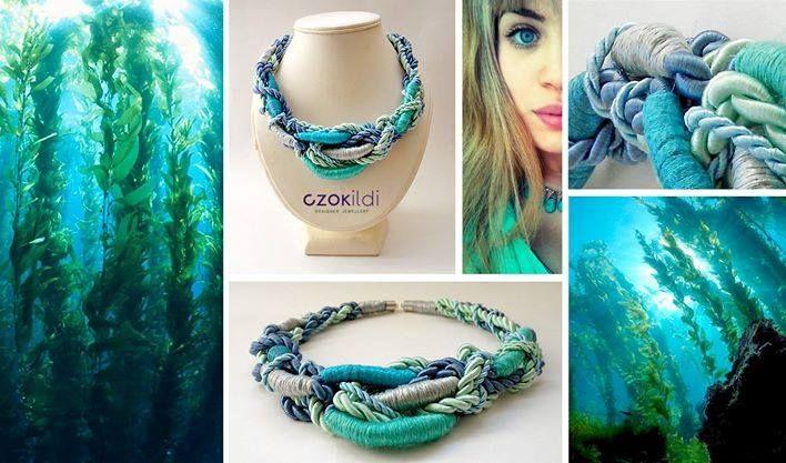 Czok Ildi designer jewellery #czokildi #czokildijewellry #designerjewellry #silk #yarn #turquoise #blue #silver #necklace #bracelet * https://www.facebook.com/czokildi