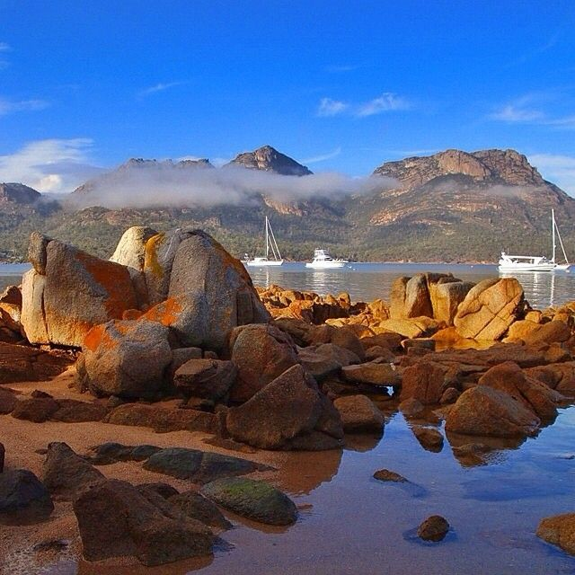 Beautiful Coles Bay on a sunny morning in Tasmania.