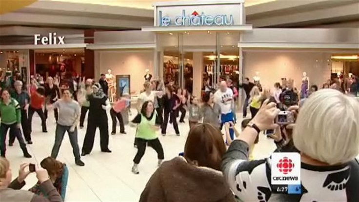 CBC Windsor Video Footage of Flash Mob 2012 Windsor ON Feb 29, 2012, at Devonshire Mall. Sponsored by 3Gyros Zero Calorie Salad Dressings. http://www.3Gyros.com