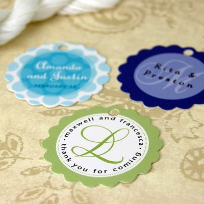 "Personalized Scalloped Wedding Gift Tags - customize with the couple's names and wedding date or special ""thank you"" message"