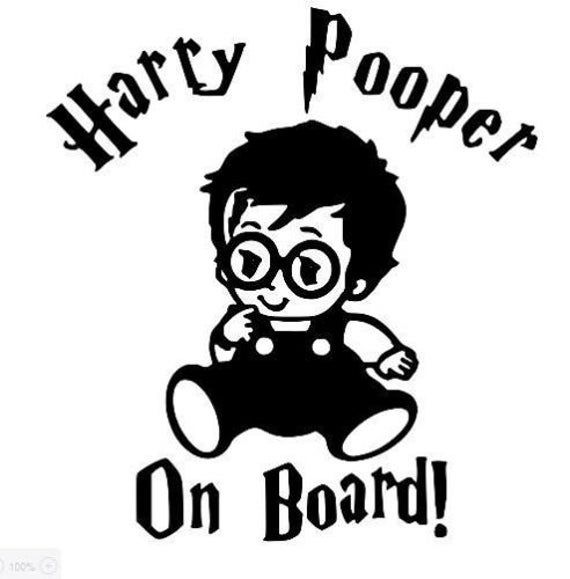 Harry Pooper On Board Vinyl Decal Sticker Car Window Harry Potter Stencils Harry Potter Baby Family Car Stickers