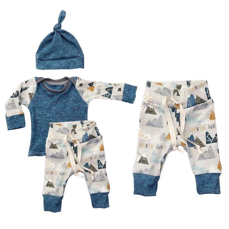 3PCS Kids Boys Girls Clothing Sweatshirt+Bottoms Pants+Hat Clothes Set Spring Summer Newborn Baby Cloth Sets