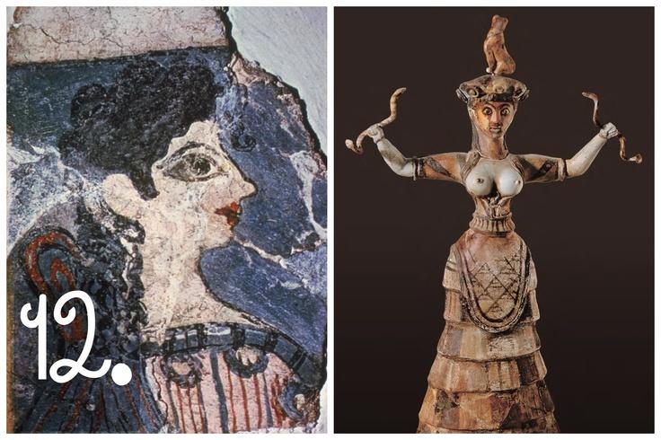 Tornando ancora più indietro, arriviamo all'arte minoica vera e propria. Qui, la cosiddetta 'Parisienne' (a sinistra) e una 'Potnia Theron', datate attorno al 1400 BC. Della civiltà minoica, devastata dall'eruzione del vulcano di Santorini (lo tsunami su Creta ebbe onde fino a 150 m di altezza; erano 30 in Giappone nel 2011), sappiamo relativamente poco, sebbene ebbe grande influenza sulla Grecia. I loro testi, in 'Lineare A', aspettano ancora di essere decifrati.