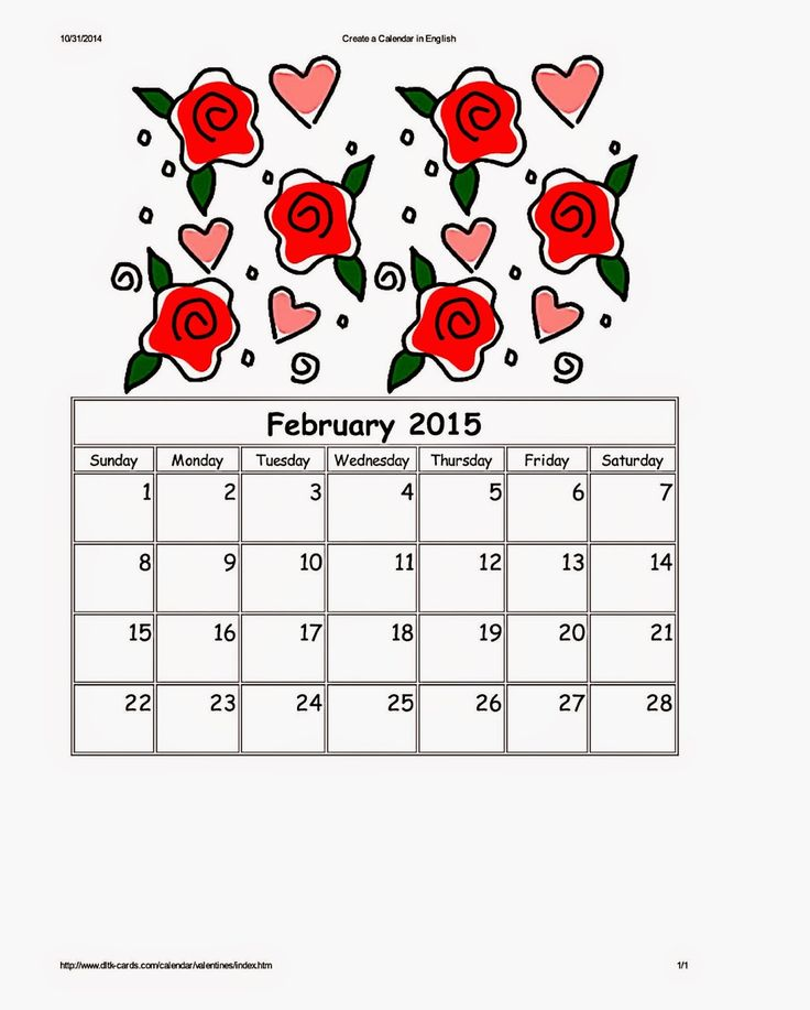 DLTK 39 s Valentine Roses Calendar