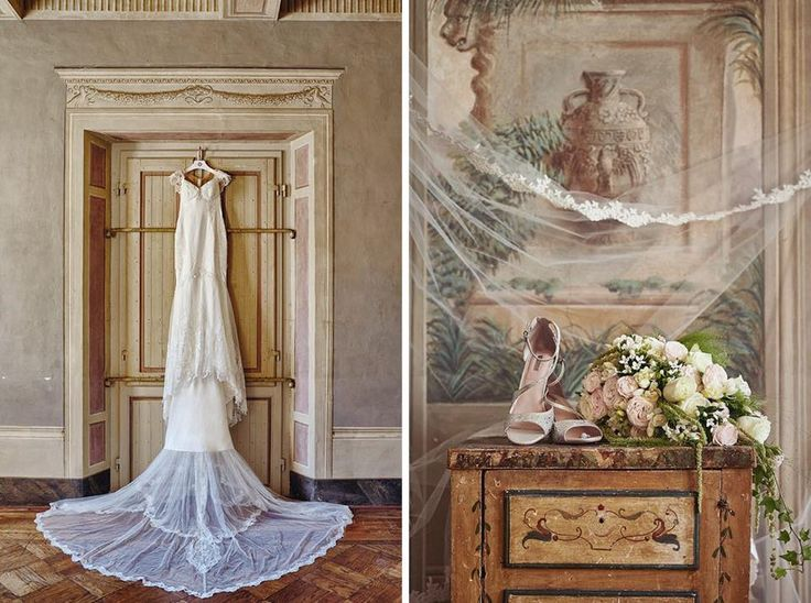 Inner room with bridal dress and shoes