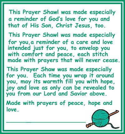 Prayer Shawls: How lovely! My eldest daughter had one made for me for last Christmas - it was an unexpected surprise and actually does feel very comforting while wearing it. Even now, at times as it's warmed up - I'll throw it over my lap. Wonderful gift! ✿⊱╮