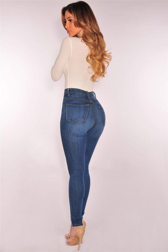 Nueva Mujeres Jeans Alta Cintura Elástico Denim Lápiz Levanta Cola  Pantalones Casual  a318a8b05932