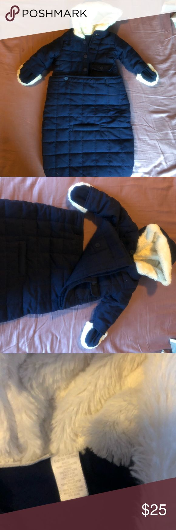 Gorgeous Baby Coat This beautiful coat will keep baby warm all winter. Bottom sack detaches when baby gets bigger. Navy blue with white faux fur lining.  Size: 0-3mos (it fit my baby a little longer) Jackets & Coats Pea Coats