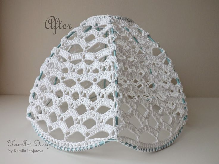 Вязаный крючком абажур своими руками Lampshade makeover, crochet lamp shade