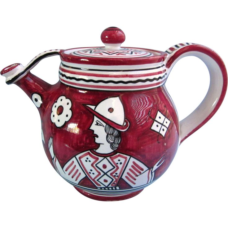 Vintage Etrusca Deruta Teapot, Burgundy and White from delmartwo on Ruby Lane