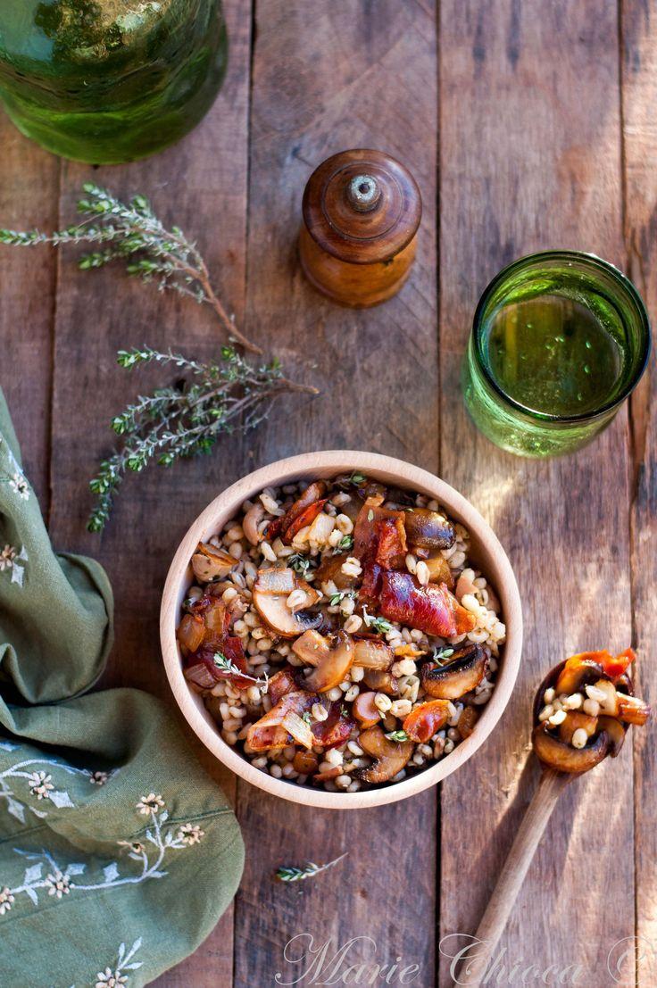 Grande poêlée d'orge aux champignons, jambon fumé et thym frais (Sans Lait, Sans oeufs, IG bas )