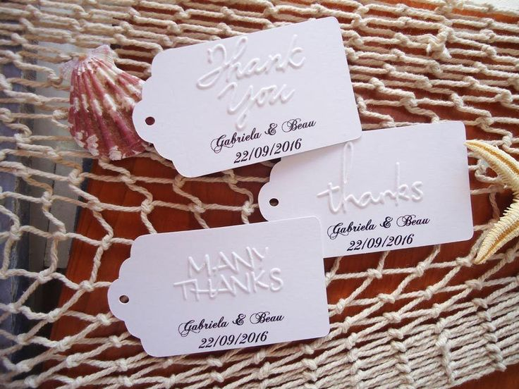 10+Kraft+White+Gift+Tags+EMBOSSED+Wedding+Favour+Personalised+Thank+you+Thanks+