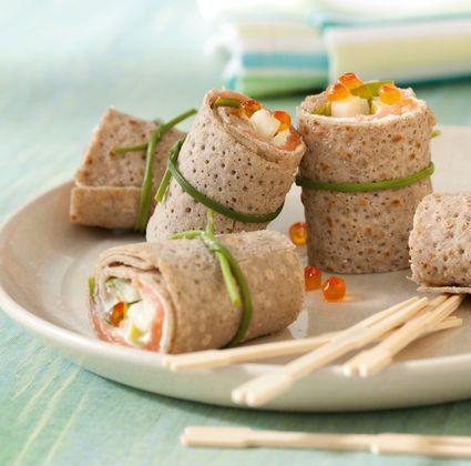 Crêpes au saumon fumé, à la pomme et au concombre (sans aller jusqu'à faire des crêpes on peut l'adapter en wrap !)