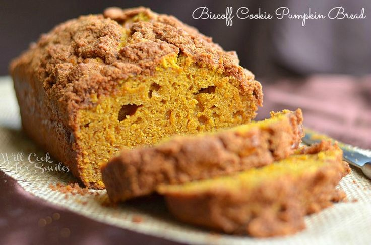pumpkin bread made with Biscoff Cookie Streusel on top and some cookie ...