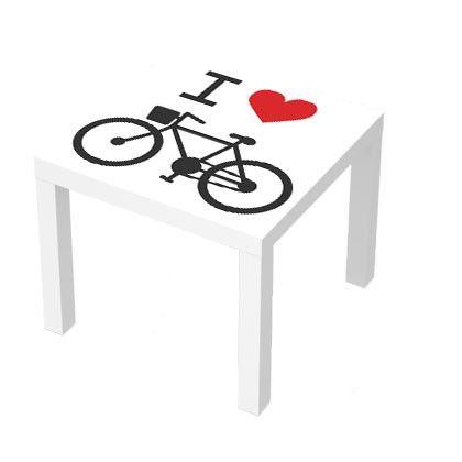 Stickers pour table basse LACK 55x55. I Love Bike #deco #design #bike #sticker #love