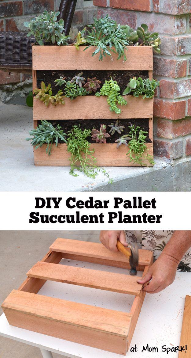 DIY Cedar Pallet Succulent Planter | 12 Creative Pallet Planter Ideas by DIY Ready at http://diyready.com/pallet-projects-gardening-supplies/