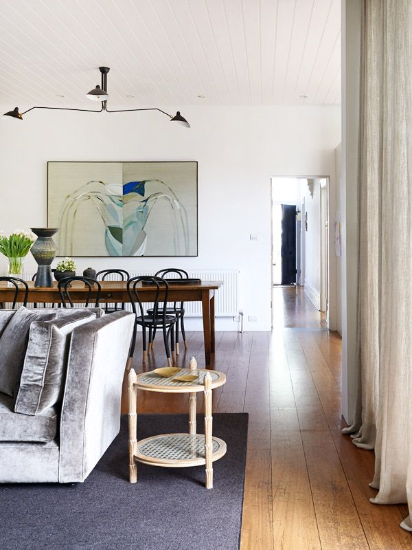 Penelope Loorham home. The Design Files. Belgian Linen curtains, lined ceiling, beautiful floors.